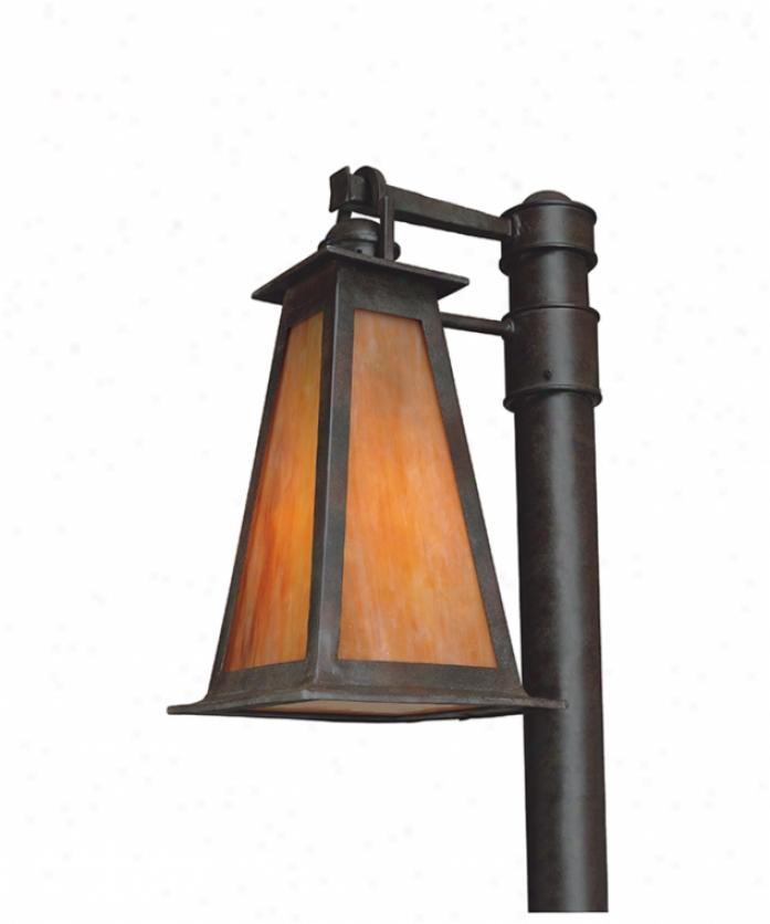 Troy Lighting Pf9885sbz-d Lucerne Energy Smart Dark Sky 1 Light Outdoor Post Lamp In Sculptor Bronze With Iridescent Honey Glass
