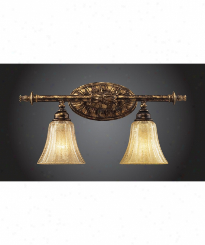 Trump Home 2451-2 Bedminster 2 Light Bath Vanity Ligyt In Burnt Gold Leaf With Crystalline Amber Blown Glass