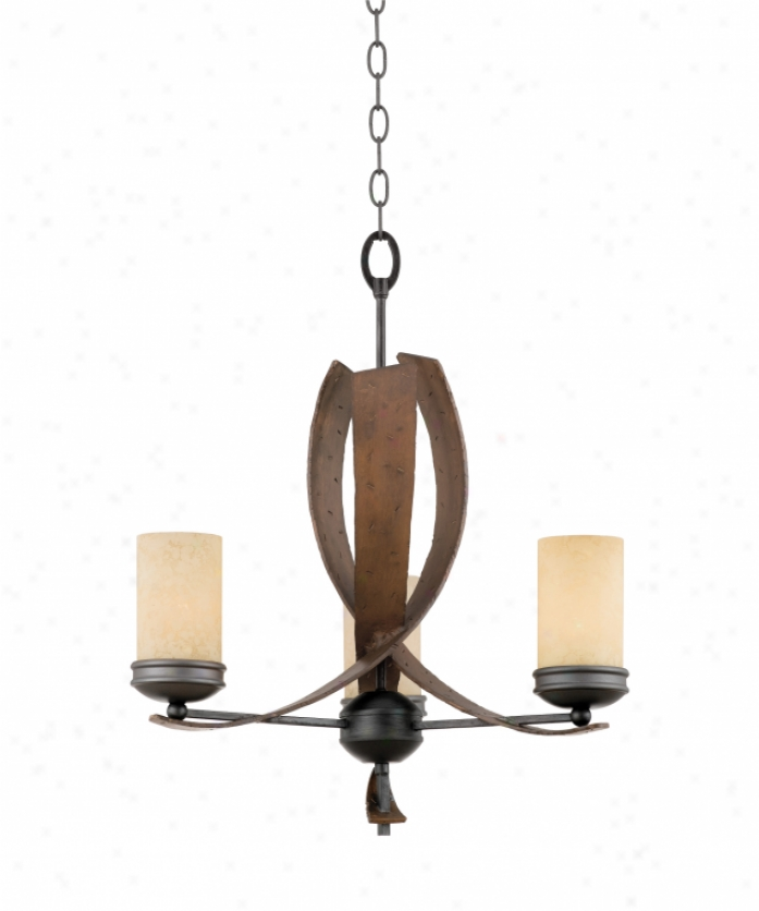 Varaluz 112c03b Aizen 3 Light Unmarried Tier Chandelier In Hammered Ore With Aspen Bronze Accents With Infusion  Stained Creamy Glass