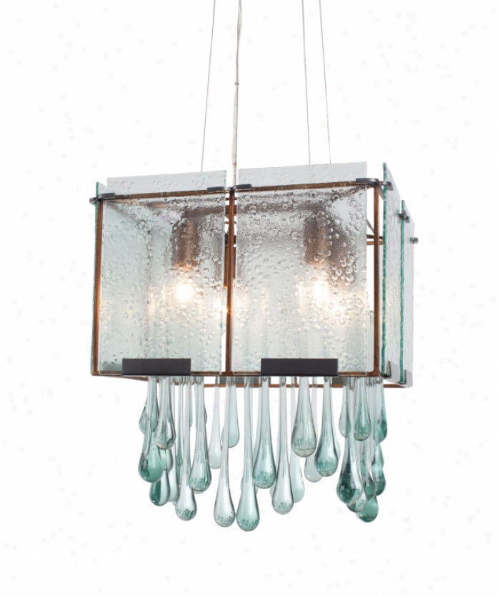 Varaluz 160c04hod Rai nDrops 4 Liht Single Tiet Chandelier In Hammered Ore With Recycled Hand Pressed Rain Glass Glass