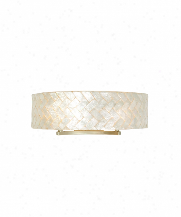 Varaluz 173b02b Radius 2 Light Bath Vanity Light In Gold Dust With Sustainable Herringbone Of Natural Capiz Shell Glass