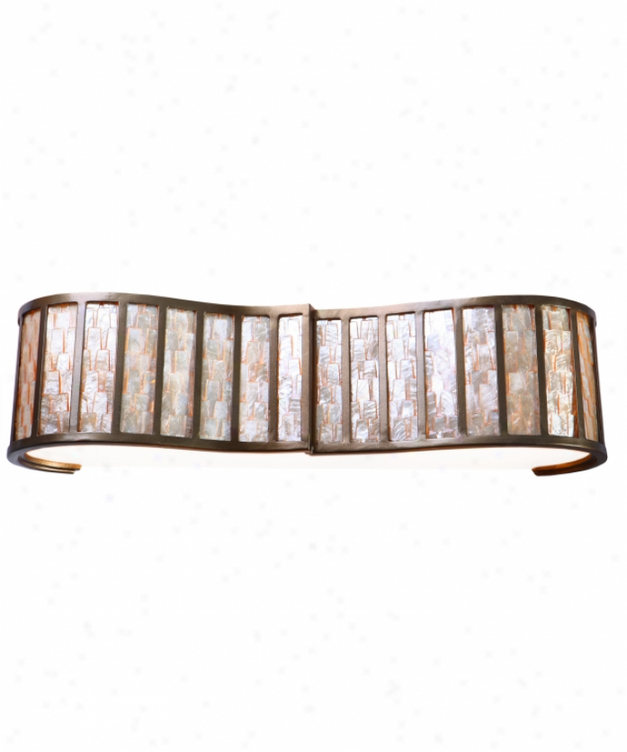 Varaluz 175b03 Affinity 3 Lightt Bath Vanity Light In New Bronze With Sustainable Towers Of Natural Capiz Glass