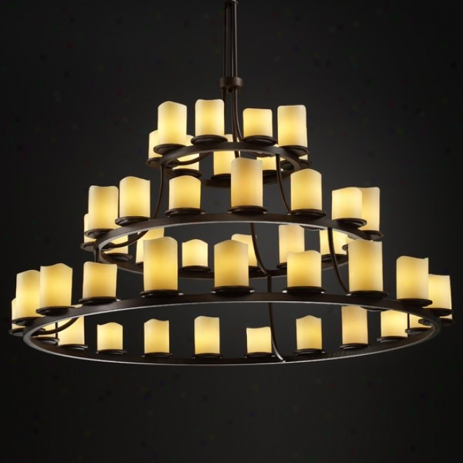 Cndl-8714-14-crem-dbrz - Justice Design - Dakota 45-light 3-tier Ring Chandeiler