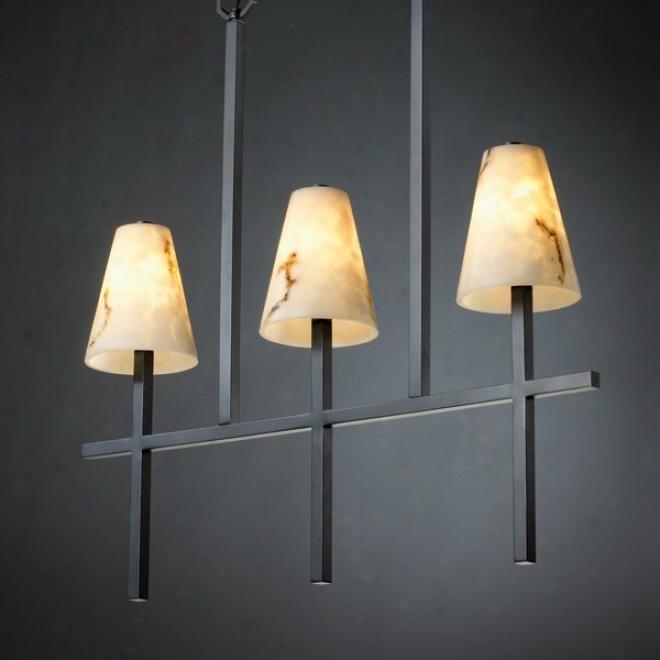 Fal-8955-50-mblk - Justic Design - Linear 3-light Bar Chandelier