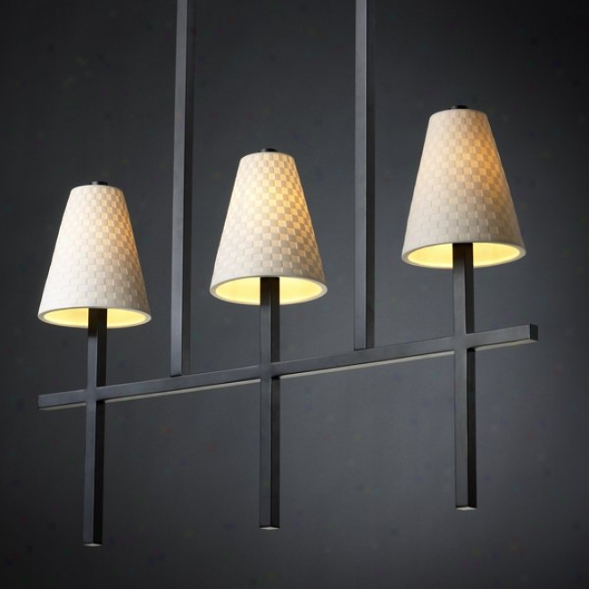 Poe-8955-50-chkr-mblk - Justice Design - Linear 3-light Bar Chandelier