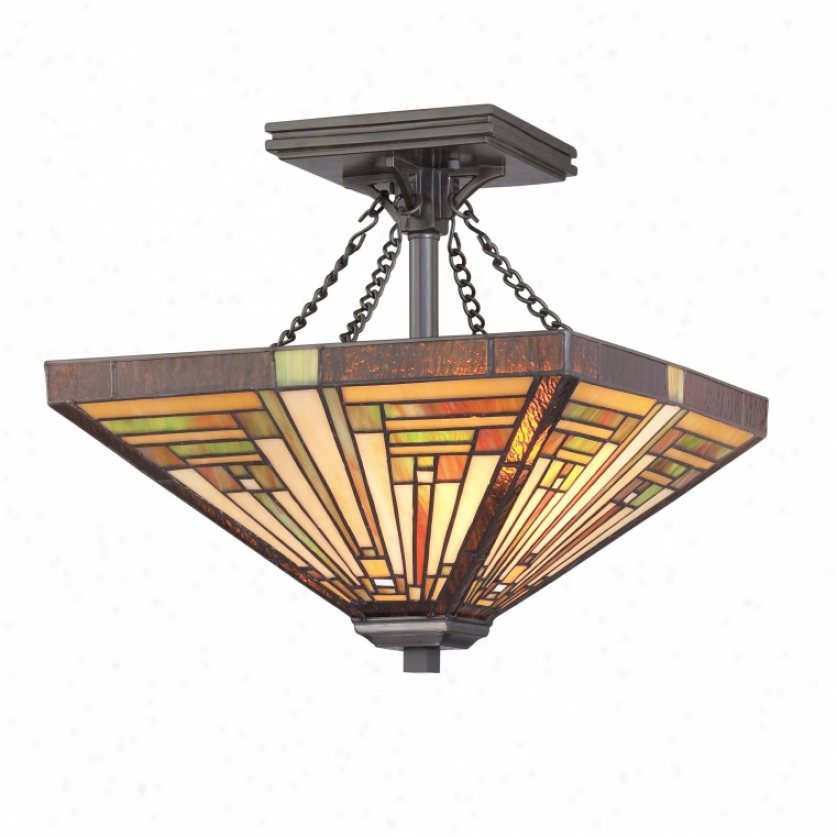 Tf885svb - Quoizel - Tf885svb > Tiffany Manner Semi Flush Mount