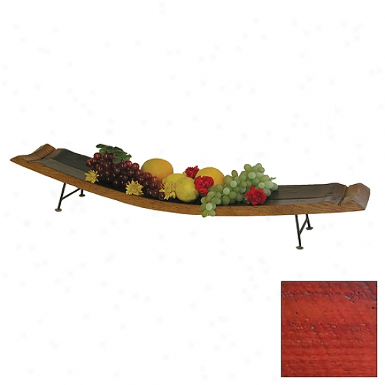 2 Day Designs Double Wine Stave Server With Iron Feet
