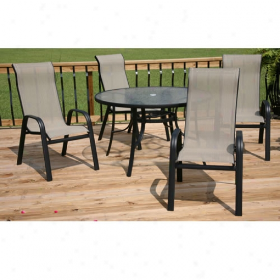 5 Piece Outdoor Patio Dining Set With Glass Table And Stackable Chairs - Black