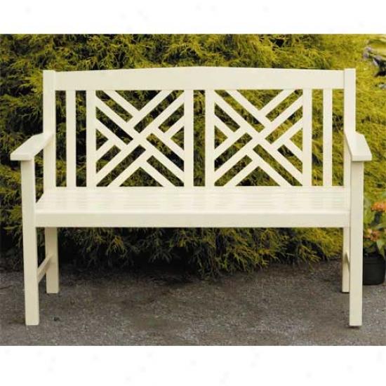 Achla Ivory Fretwork Bench
