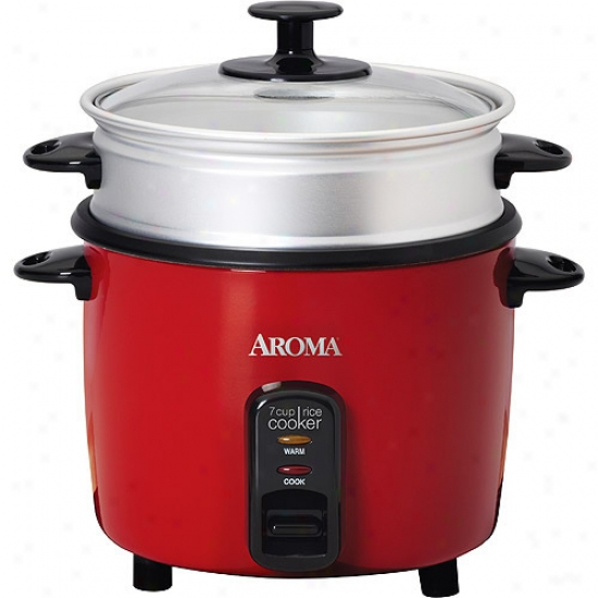 Aroma 14 Cup Red Rice Cooker And Food Steamer