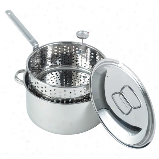 Bayou Classic Stainless 10 Quart Fry Pot W/ Lid, Basket, And Thermometer