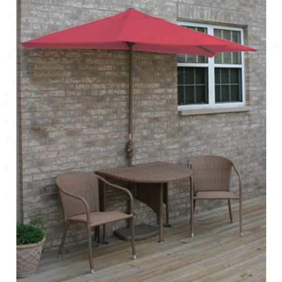 Blue Star Group Terrace Mates Adena All-weathrr Coffee Color Wicker 7.5 Ft. Sunbrella Set