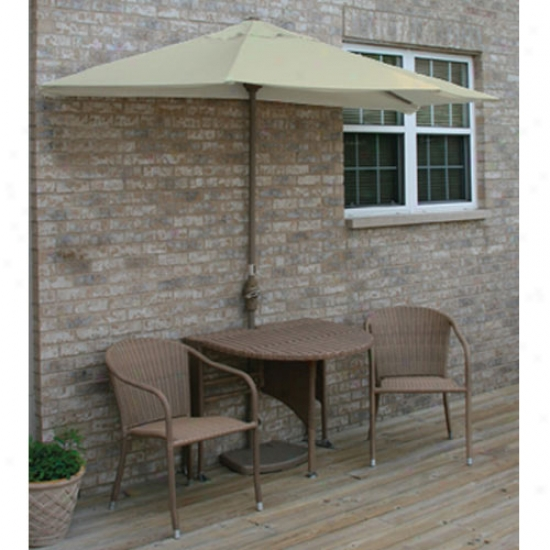 Blue Star Group Terrace Mates Adena All-weather Coffee Color Wicker 9 Ft. Olefin Set