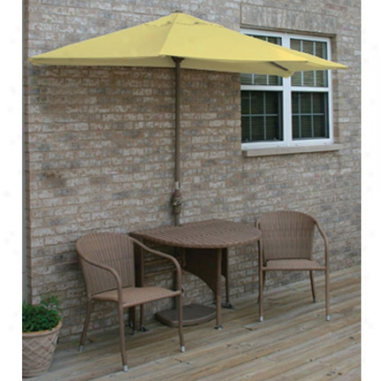 Blue Star Group Teerrace Mates Genevieve All-weather Coffee Colr Wicker 7.5 Ft. Sunbrella Set