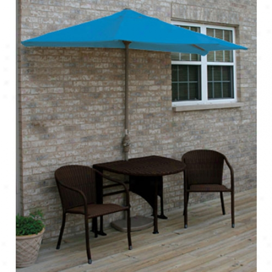 Blue Star Group Terrace Mates Genevieve All-weather Java Color Wicker 9 Ft. Olefin Set