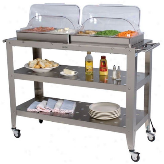 Broil Sovereign Grand Size Buffet Warming Cart With Rolltop Lids
