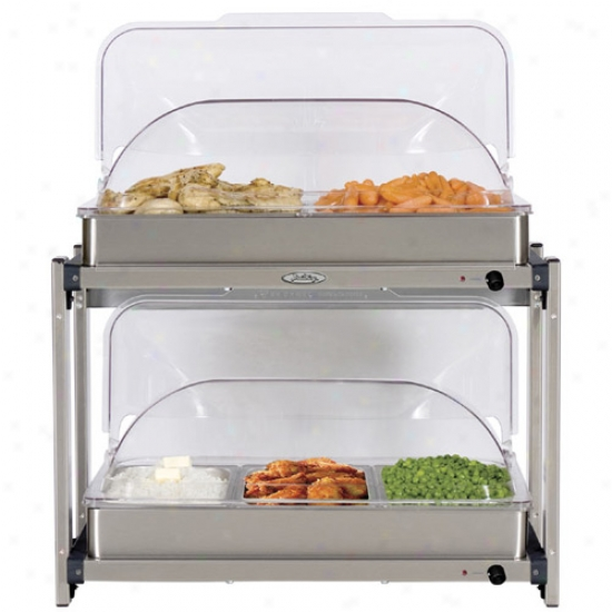 Broil King Professional Multi Level Buffet Server Wi5h Rloltop Lid - Unsullied Steel