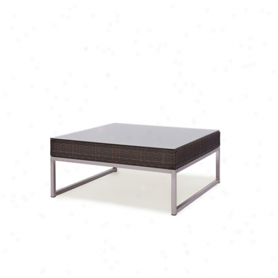 Caluco Mirabella Square Outdoor Wicker Glass Top Coffee Table