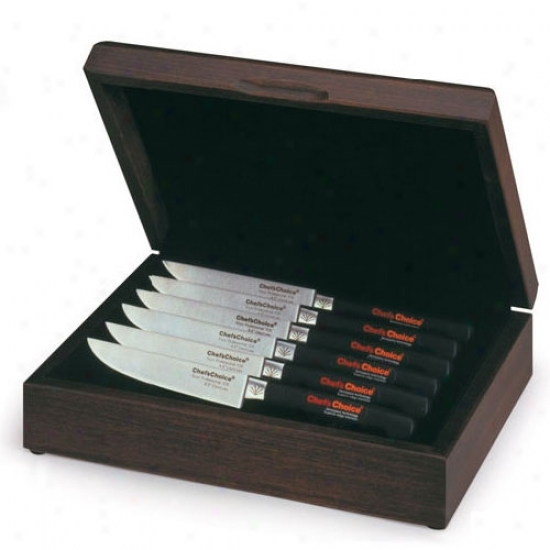 Chef's Choice Hardwood Box - 6 Collop Knives