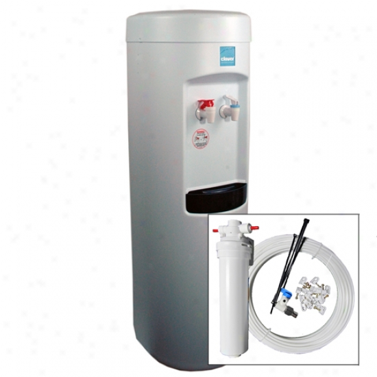 Clover White Hot & Cold Water Cooler With Pale Pou Plus Install Kit & Filter