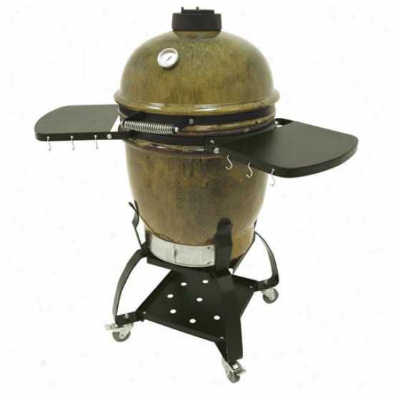 Cypress Ceramic Charcoal Grill With Cat And Side Shelves