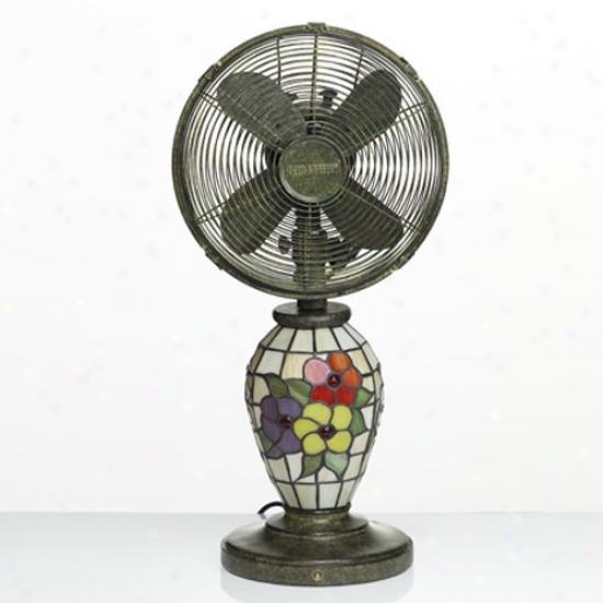 Decobreeze 10  Mosaic Glass Tabletop Fan - Flowers