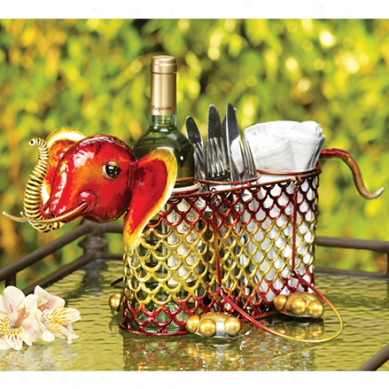 Decobreeez 3 Bottle Elephant Wine Caddy