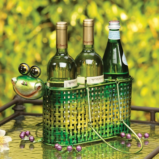 Decobreeze 3 Bottle Frog Wine Caddy