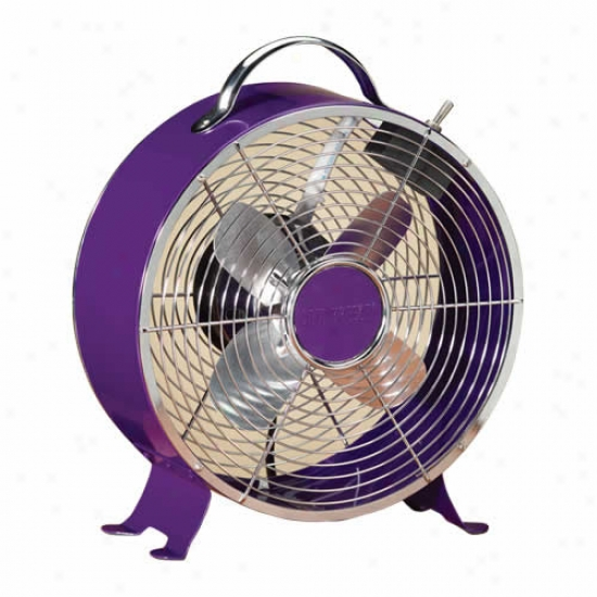 Decobreeze 9  Retro Metal Box Fan - Purple