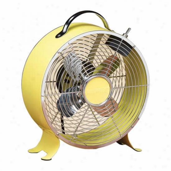 Decobbreeze 9  Retro Metal Box Fan - Yellow