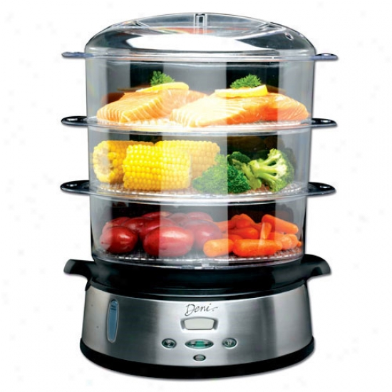 Deni 3 Tier Digital Food Steamer - Stainless Steel