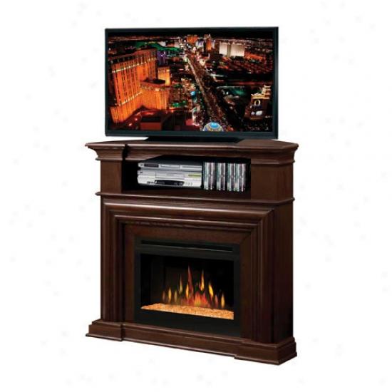 Dimplex Montgomery Electric Glass Ember Fireplace Corner Media Console - Nutmeg
