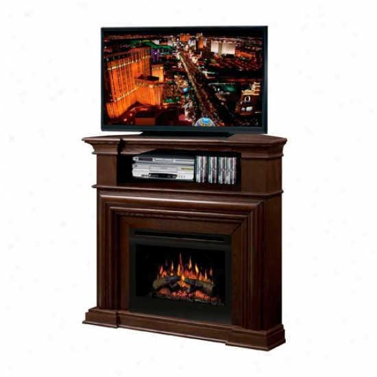 Dimplex Montgomery Electric Log Fireplace Corner Media Console - Nutmeg