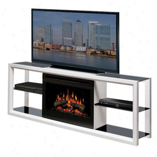 Dimplex Novara Electric Log Fireplace Media Console - White