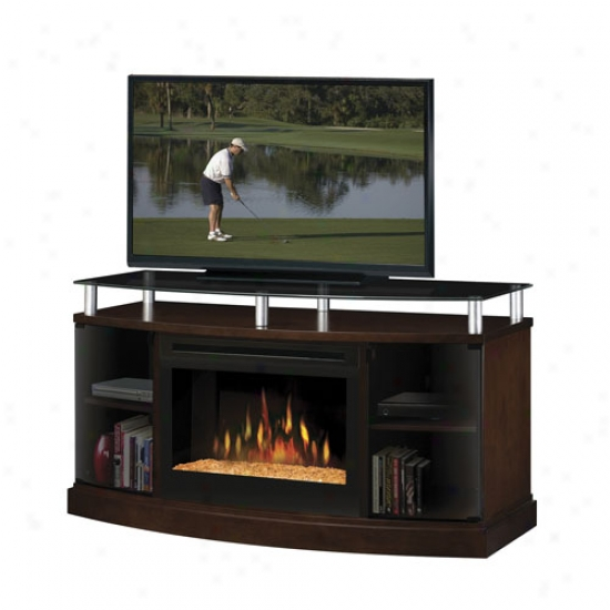 Dimplex WindhamE lectric Glass Ember Fireplace Media Console - Mocha