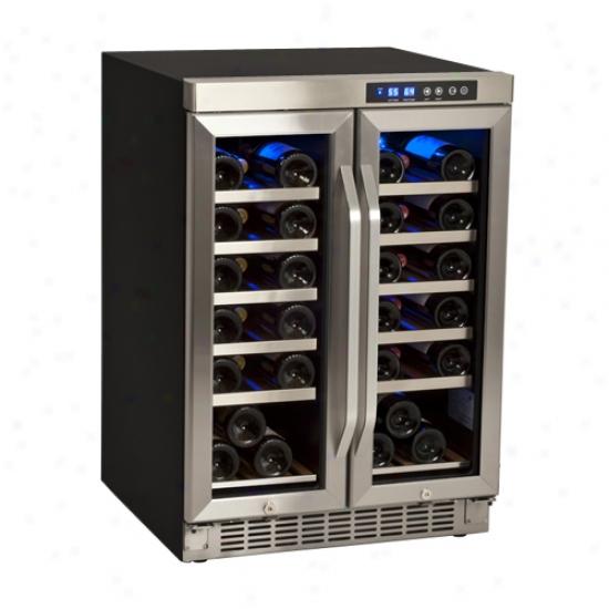 Edgestar 36 Bottle Built-in Dual Zone French Door Wine Cooler