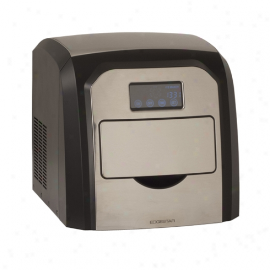 Edgestar Deluxe Portable Spotless Steel Ice Maker With Lcd Display