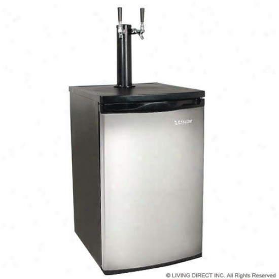 Edgestar Full Size Stainless Steel Dual Tap Kegerator & Outline Beer Dispenser