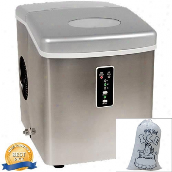 Edgestar Portable Stainless Armor Ice Maker With 10 Ice Bags