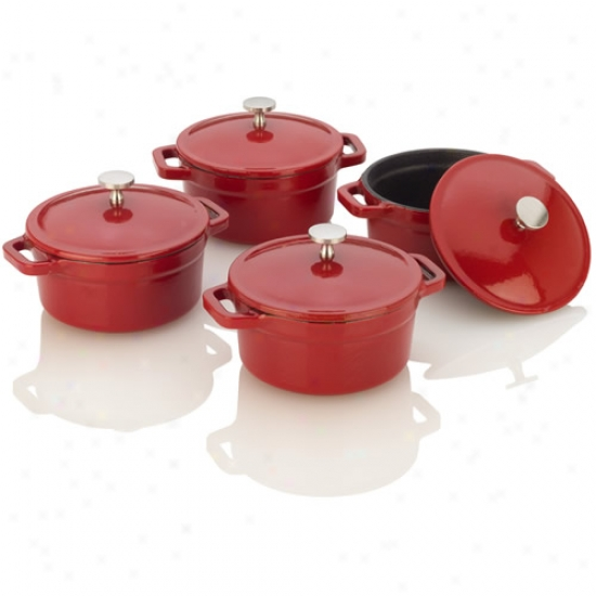 Fagor Michelle B Red Cast Iron Mini Dutch Ovens
