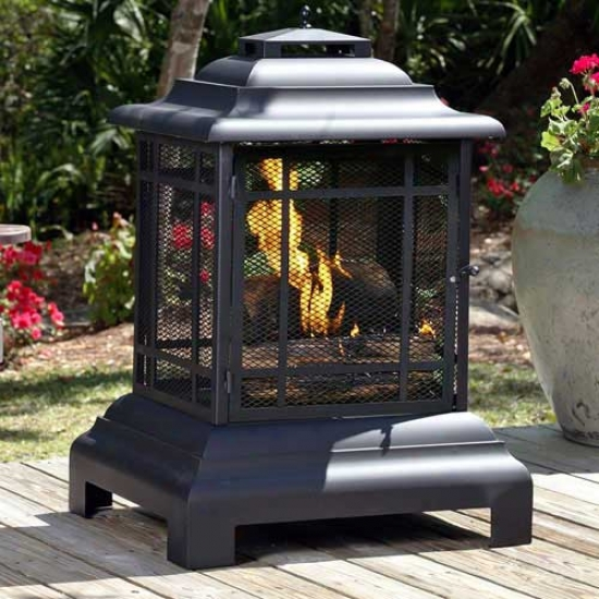 Fire Intellect Black Powder Cooated Stesl Pagoda Patio Fireplace
