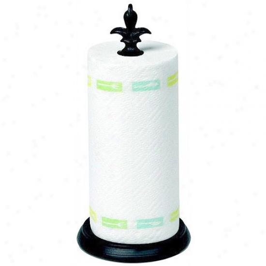 Fleur De Lis Paper Towel Holder - Black