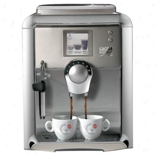 Gaggia Platinum Vision Esprssso Machinery In Champagne With Milk Island