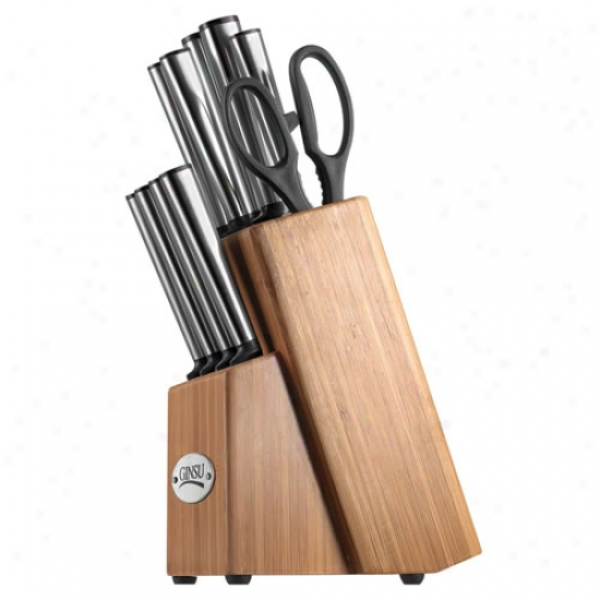 Ginsu 1 Piece Stainless Steel Cutlery Set W/ Bamboo Block