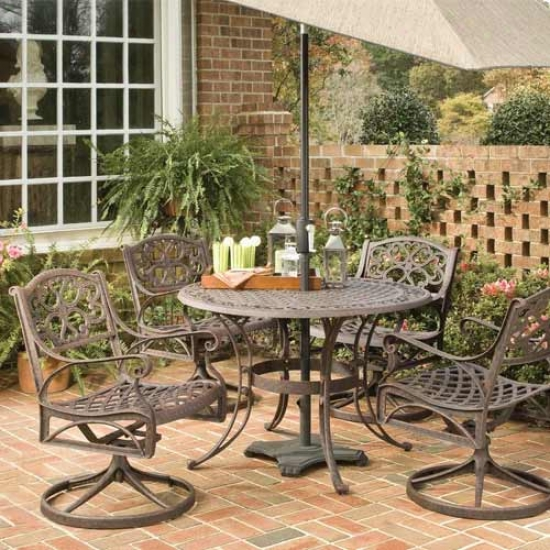 Home Styles 5 Composition Full Outdoor 48-inch Dining Set - Swivel Chairs