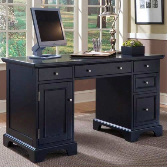 Home Styles Bedford Pedestal Desk - Dark