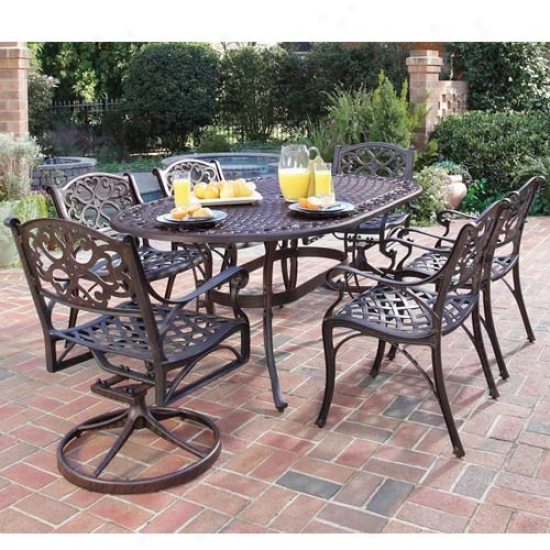 Hpme Styles Biscayne 7 Piece Outdoor Dining Set - 2 Swivel Chairs