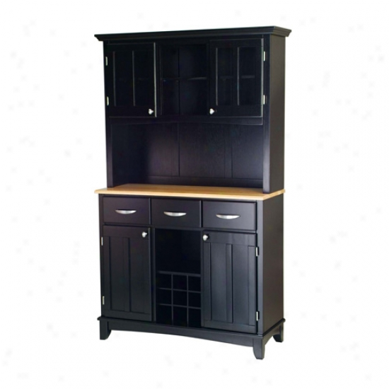 Home Styles Buffet With Two Door Hutch And Wood Top