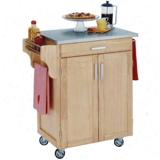 Home Styles Cuisine Kitchen Cart With Stainlesd Steel Top