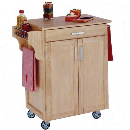 Home Styles Cuisine Kitchen Cart With Wood Top